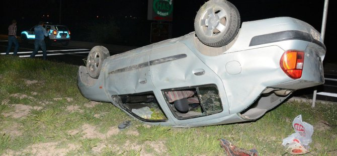 Takla Atan Otomobilin Sürücüsü Kazadan Burnu Kanamadan Kurtuldu
