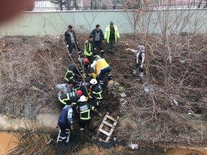 Sulama kanalına düşen vatandaş itfaiye tarafından kurtarıldı