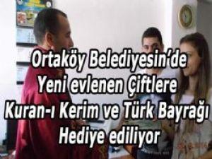 Yeni evlenen Çiftlere Kuran-ı Kerim ve Türk Bayrağı Hediye ediliyor