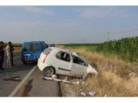 Aksaray'da otomobil şarampole devrildi: 1 yaralı