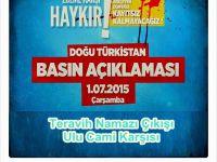 Aksaray AGD Doğu Türkistan'da yapılan Çin zulmünü protesto edecek