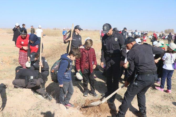 Aksaray'da 5 bin 500 fidan toprakla buluşturuldu