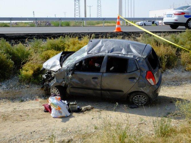 Aksaray'da otomobil takla attı: 1 ölü, 2 yaralı